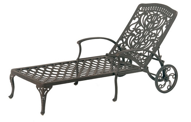 Shop tuscany by hanamint luxury cast aluminum patio furniture chaise lounge - Chaise aluminium bistro ...