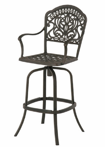 Tuscany By Hanamint Luxury Cast Aluminum Patio Furniture Swivel Bar Height Chair