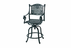 Verona By Gensun Luxury Cast Aluminum Patio Furniture Swivel Bar Height Chair