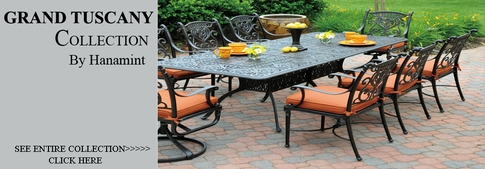 view all hanamint collection grand tuscany cast aluminum patio furniture dining sets