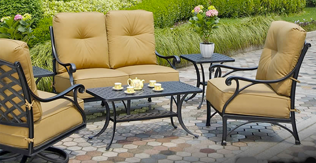 View All Hanamint Collection Newport Cast Aluminum Patio Furniture Deep Seating Sets