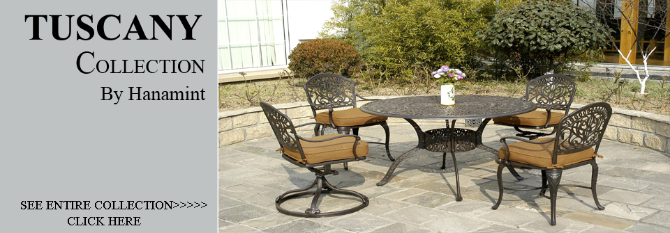 View All Hanamint Collection Tuscany Cast Aluminum Patio Furniture Dining  Sets