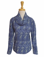 "a' la carte #L37466BM ""Midnight Hour"" Multi Crinkle Printed Cowl Neck Top"