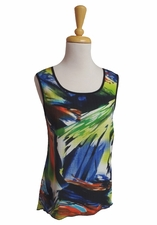 Bali #6191 Black Multi Sleeveless Top/Final Sale