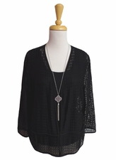 Bali #6273 Sheer Crochet Design Black Jacket