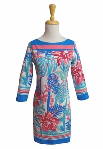 Barbara Gerwit #240C82 Tropical Forest Multi 3/4 Sleeve Dress/Final Sale