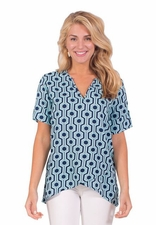 Escapada Living #847-T248 Serena Navy/Aqua Antigua Top/Final Sale