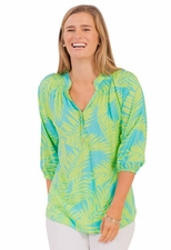 Escapada Living #853-T388 Rose Aqua/Celery Tropics Top/Final Sale