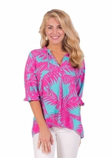 Escapada Living #856-T356 Ophelia Aqua/Hot Pink Blush Tropics Top/Final Sale