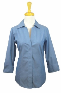 "Foxcroft #102278-Z46 ""Taylor"" Blueprint Essential Non-Iron Blouse"