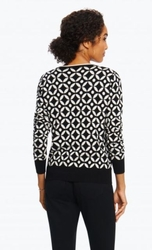 "Foxcroft #171307-050 ""Bev"" Tile Print Black/White Knit Cardigan"