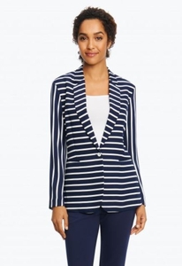 "Foxcroft #173259-Z08 ""Staci"" Club Stripe Navy/White Jacket/Final Sale"