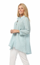 Habitat Clothes #45638 Jade/White Stripe Wedge Back Shirt/Final Sale