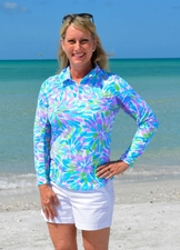 IBKUL Ice Fil #10-638 Flower Splash Long Sleeve Top/Final Sale