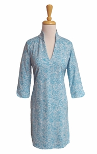 Katherine Way #coco141 Roundabout Topaz Turquoise/White Dress/Final Sale