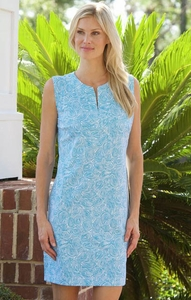 Katherine Way #hampton141 Roundabout Topaz Turquoise/White Dress/Final Sale