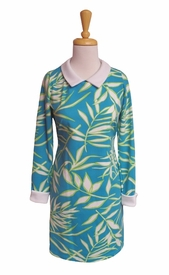 Katherine Way #monterey140 Bamboo Leaves Topaz Turquoise Dress/Final Sale