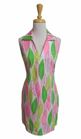 Katherine Way #newport148 Vertical Leaves Geranium Sleeveless Lime/Hot Pink Dress/Final Sale