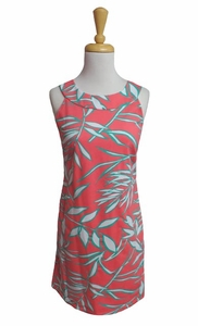 Katherine Way #seaside137 Seaside Bamboo Leaves Coral Mix Dress/Final Sale