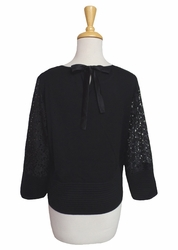 "Ming #G0004F 23"" Long Black Lace Accent Top"