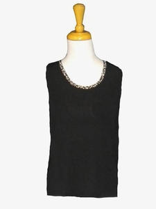 Ming Wang #M6615B Black/Granite/Cashmere Tank Top