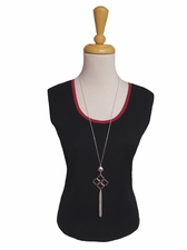Ming Wang #M7022B Black/Charged Pink Tank Top