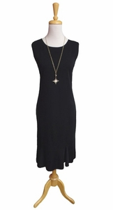 "Ming Wang #MD9900 40"" Black Crew Neck Tank Dress/Flounce Hem"