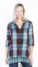 "Multiples ""Autumn Hues"" #M47404BM Plaid Top"