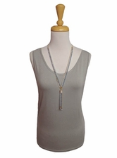 "Multiples Clothing #M17103TM ""Frosted Art"" Frost Gray Tank Top/Final Sale"