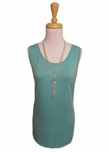 "Multiples Clothing #M17104TM ""Frosted Art"" Green Turquoise Longer Tank/Final Sale Top"
