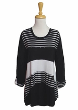 "Multiples Clothing #M17606TM ""Opposites Attract"" Black/White Uneven Hem Tunic/Final Sale"