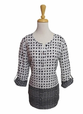 "Multiples Clothing #M17609TM ""Opposites Attract"" Black/White Tunic/Final Sale"