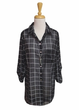 "Multiples Clothing #M17612BM ""Opposites Attract"" Black/White Check Long Shirt/Final Sale"