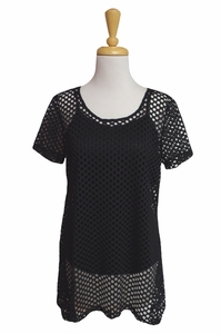 "Multiples Clothing #M27107TM ""Pulitzer Prize"" Black Mesh Tunic/Cami/Final Sale"