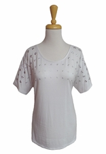 "Multiples Clothing #M27202TM ""Pulitzer Prize"" White Top/Silver Grommets/Final Sale"