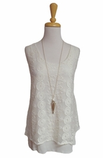 "Multiples Clothing #M27307TM ""Santa Fe"" Ecru Embroidered Sleeveless Top/Final Sale"