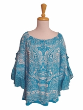 "Multiples Clothing #M27403TM ""Playa Grande"" Lagoon Print Peasant Top/Final Sale"