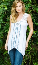 "Multiples Clothing #M27506TM ""Smooth Sailing"" White Multi Sleeveless Top/Final Sale"