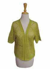 "Multiples Clothing #M37101KM ""Green Space"" Open Work Herb Cardigan Sweater"