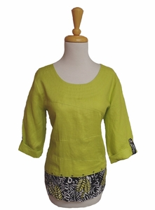 """Multiples Clothing #M37204TM """"Green Space"""" Herb Multi Panel Top"""