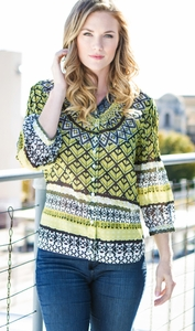 """Multiples Clothing #M37205BM """"Green Space"""" Multi Top"""