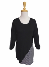 "Multiples Clothing #M37209TM ""Green Space"" Black Asymmetrical Hem Top"