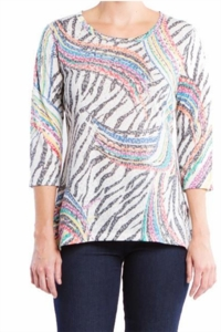 """Multiples Clothing #M37511TM """"Sophisticated Lady"""" Multi Top"""