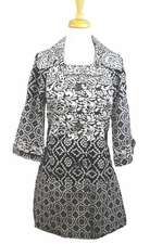 "Multiples Clothing #M37514JM ""Sophisticated Lady""  Black/White Multi Top"