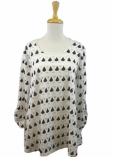 "Multiples Clothing #M37515TM ""Sophisticated Lady"" Black/White Top"