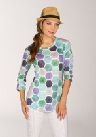 Newport By Carine #G17806 Green Hex Top/Final Sale