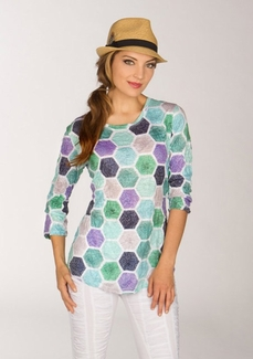 Newport By Carine #G17806 Green Hex Top