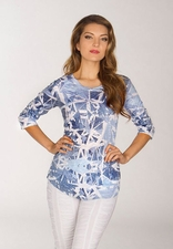 Newport By Carine #G17847 Blue Shards Top/Final Sale
