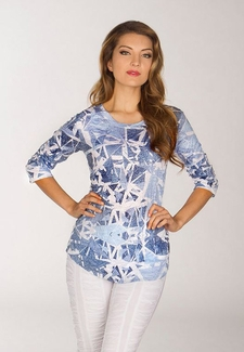 Newport By Carine #G17847 Blue Shards Top
