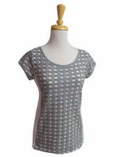 Picadilly Fashions #UF773 Zinc/White Cap Sleeve Top/Final Sale
